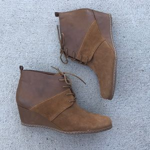Like New Franco Sarto albi wedge brown bootie boot